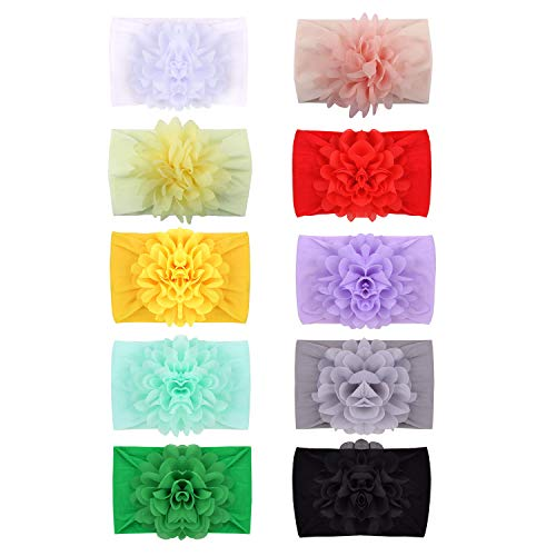 inSowni 10 Pack Newest Super Stretchy Wide Nylon Headbands with Big Chiffon Flower for Baby Girls Toddlers Infants Newborns Kids