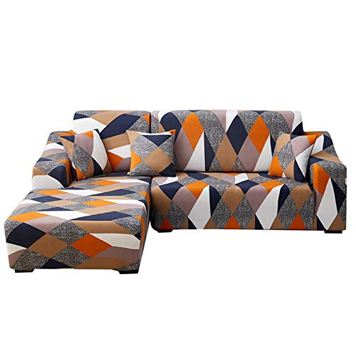 IVYSHION Fundas de Sofá Chaise Longues Elásticas,Cubre Sofá Chaise Longues Universal Antideslizante,Fácil de Instalar,Fundas para Sofá en Forma de L 2 Piezas Naranja,2 Plazas+3 Plazas