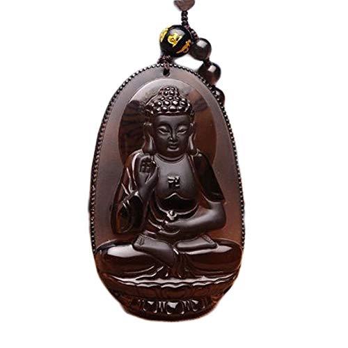 Dxnbp Obsidiana Gema Amuleto Colgante Budismo Collar Amuleto Colgante Amulet Amitabha Regalo Ideal para Hombre Y Mujer