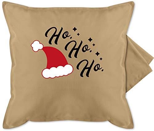 Shirtracer Weihnachten Kissen - Ho Ho Ho - Santa Mütze - Unisize - Beige - Fun -...