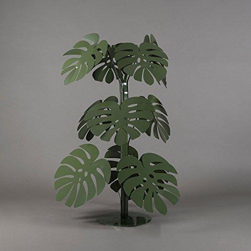 ARTI E MESTIERI Sculpture de sol petite plante Monstera Vert Jardin en métal