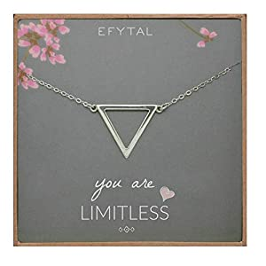 EFYTAL Inspirational Gifts for Women, Sterling Silver Triangle Necklace, Graduation Jewelry Gift for New Grad