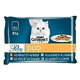 GOURMET Perla – Los duos de Carne Multifuncional, 4 x 85 g – Bolsas Frescas para Gato Adulto – Lote de 12