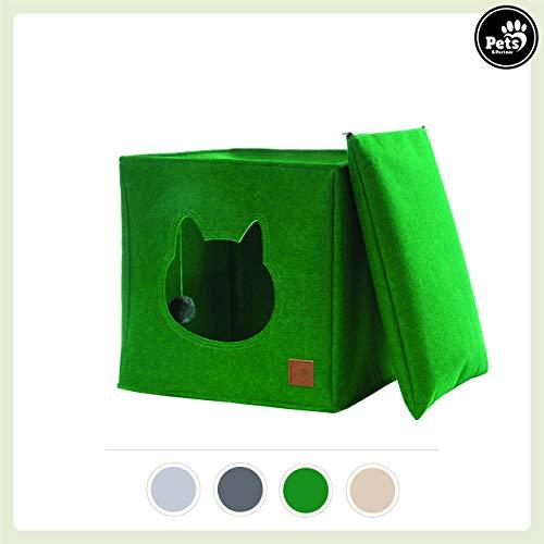 Katzenhöhle / Katzenbett aus Filz mit separatem Kissen und integriertem Katzenspielzeug | Idealer Platz für Katzen zum spielen, kuscheln, schlafen und kratzen (Grün)