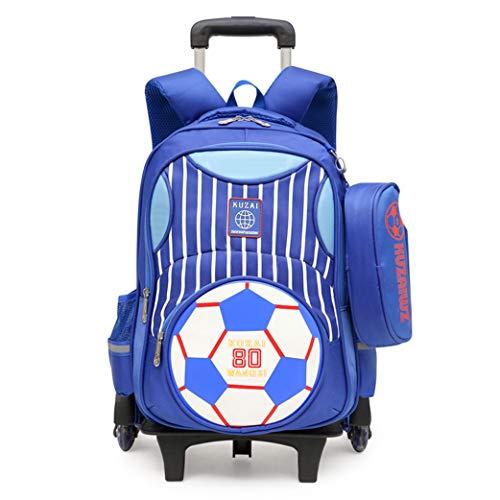 Elementary Football Prints Trolley Rucksack Kinder Fußballschule Rolltasche Primary Wheeled Book Bag mit Federmäppchen für Jungen (2 Runden Blitz)-Royalblue