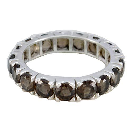 joyas plata buenas piedras preciosas forma redonda multi piedra anillos de cuarzo ahumado facetado - anillo de cuarzo ahumado marrón de plata esterlina - nacimiento de enero capricornio