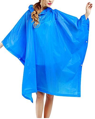 Shaoyao Chubasquero Impermeable Con Capucha Poncho De Lluvia Una Vez Camping Ligero Para Senderismo Ciclismo Unisex Mujeres Hombres Azul