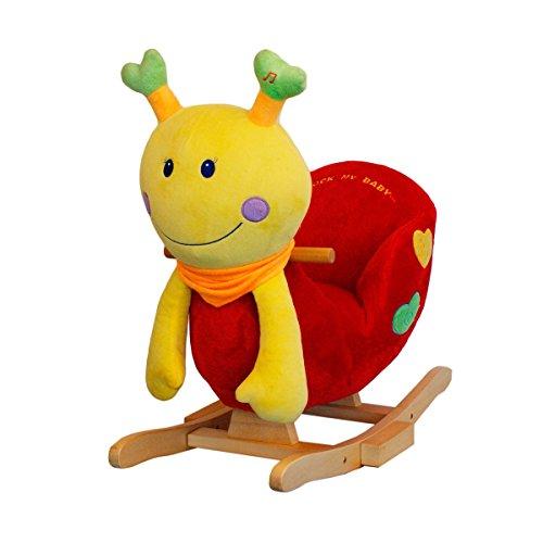 solini Schaukeltier Marienkäfer mit Soundfunktion - Spielzeug mit Kinder-Melodie auf Druck am Fühler - rot/gelb