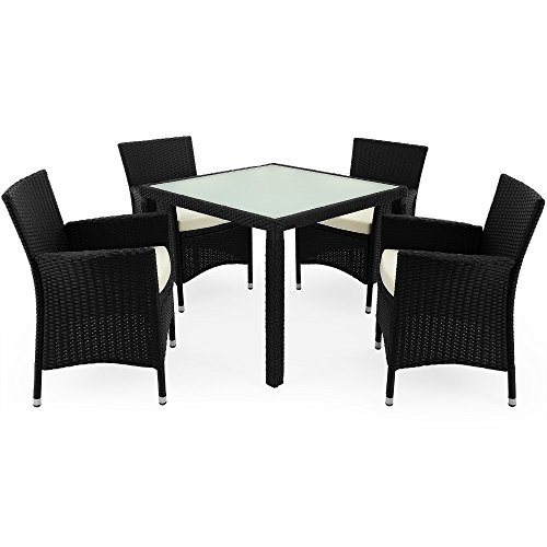 Deuba Poly Rattan Garden Furniture Dining Table and Chairs Set Rectangular Glass Top Stackable Beige or Black Outdoor Patio Dining Set Black