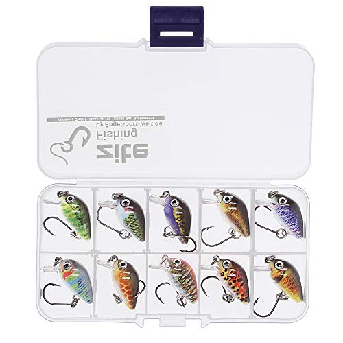 Zite Fishing Mini-Wobbler Set - 10 Ultra-Light Kunst-Köder Box Forelle Barsch - Einzelhaken Forellenwobbler 2,9cm 1,8g