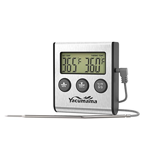 Yacumama Digital Oven Thermometer for Oven, Electric Oven, Instant Read, Safe Leave In for Meat cooking, BBQ, Candy, Smoker, Washable Probe, Long Cord, Dual Magnets with Timer, 2021 New