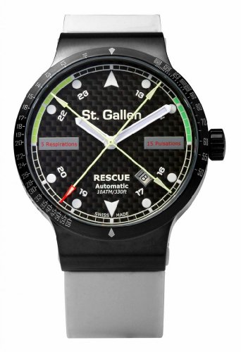 St. Gallen Disinfectable Watch - Rescue Collection - Mechanical Automatic Watch, Counters For Pulsation & Respiration Calibration, Carbon Fiber Dial