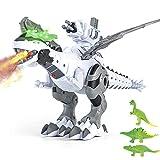 Dinosauro Robot Giocattolo,Spara proiettili,Dinosauro che cammina con nebbia,Spray fire,Luci e suoni ruggenti,Dinosauro giocattolo con coda ad ala mobile per bambini di 3-8 anni