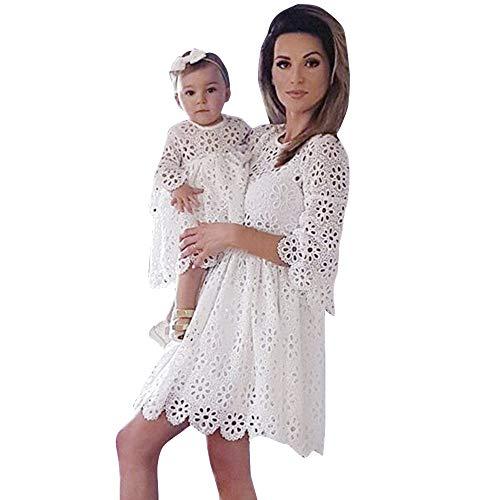 Mutter Tochter Kleid, Oyedens Mommy & Me Mutte und Tochter Baby Mädchen Langarm Lace Match Tochter Familie Kleid Herbst Blumen Spitze Strandkleid Minikleid