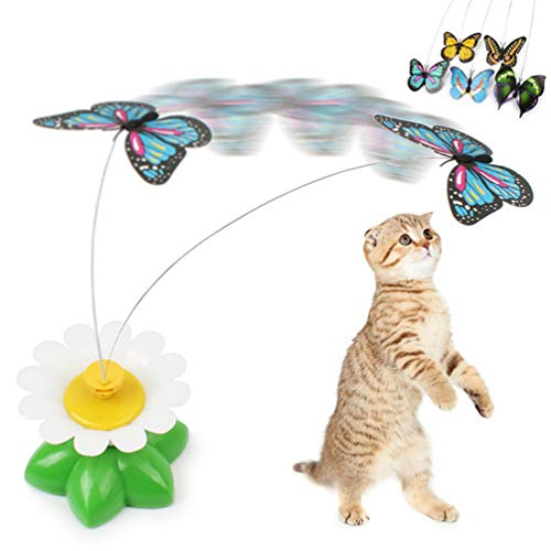 UEETEK Giocattolo interattivo del giocattolo del gatto giocattolo a farfalla colorato elettrico per i gatti Kitten ,le batterie non sono incluse (colore casuale)