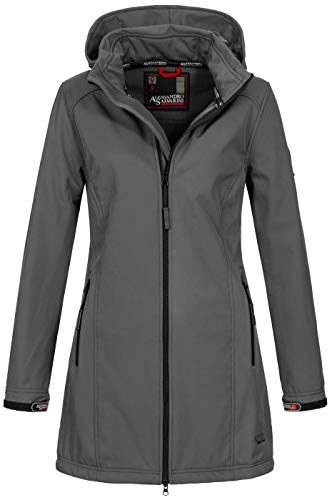 A. Salvarini Damen Softshell Jacke wasserabweisend Outdoor lang AS-131 [AS-131-Dunkelgrau-Gr.XL]