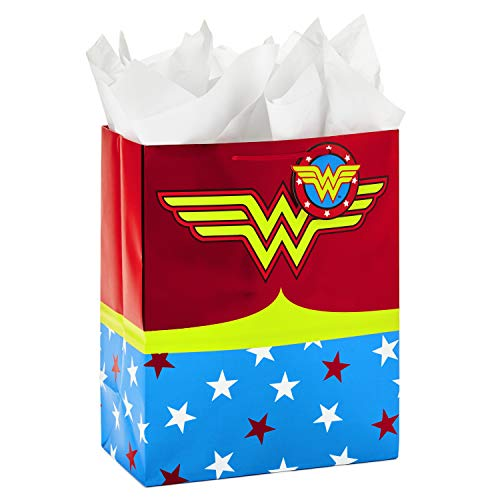 """Hallmark 13"""" Large Wonder Woman Gift Bag with Tissue Paper for Birthdays, Mother's Day, Nurses Day, Graduations, Valentines Day, Teacher Appreciation or Any Occasion"""