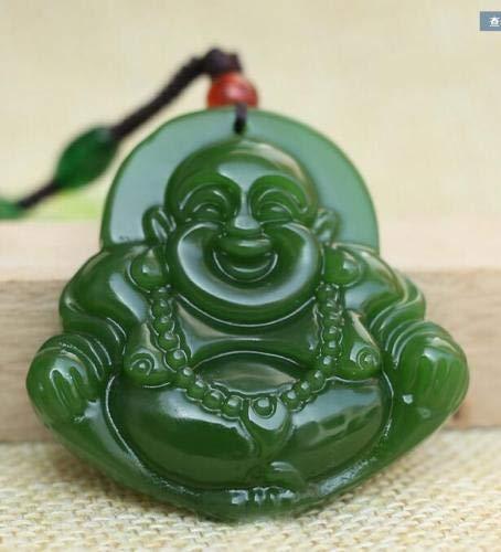 DAJIA Collar con Colgante de Amuleto de la Suerte de Buda de Jade Verde Negro Tallado a Mano de Finenatural