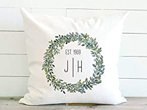Personalized Wedding Pillow Cover with Initials and Optional Established Date, 20 x 20 Inch Canvas Pillow Cover with Optio...