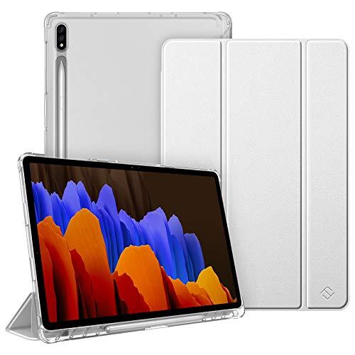 FINTIE Funda para Samsung Galaxy Tab S7+ 12,4' con Soporte para S Pen - Trasera Transparente Mate Carcasa Ligera con Función de Auto-Reposo/Activación, Plateado