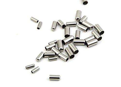 L & X Endkappe aus Edelstahl für Seile, Schnüre, Schmuckgestaltung, metall, silber, 3 mm