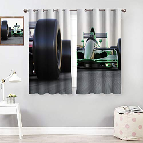 """sheetsare Cars Decorative Curtains Motorized Sports Theme Indy Cars on Asphalt Road with Motion Blur Formula Race Design Print Pattern Curtains 72""""x63""""Grey Black Green"""