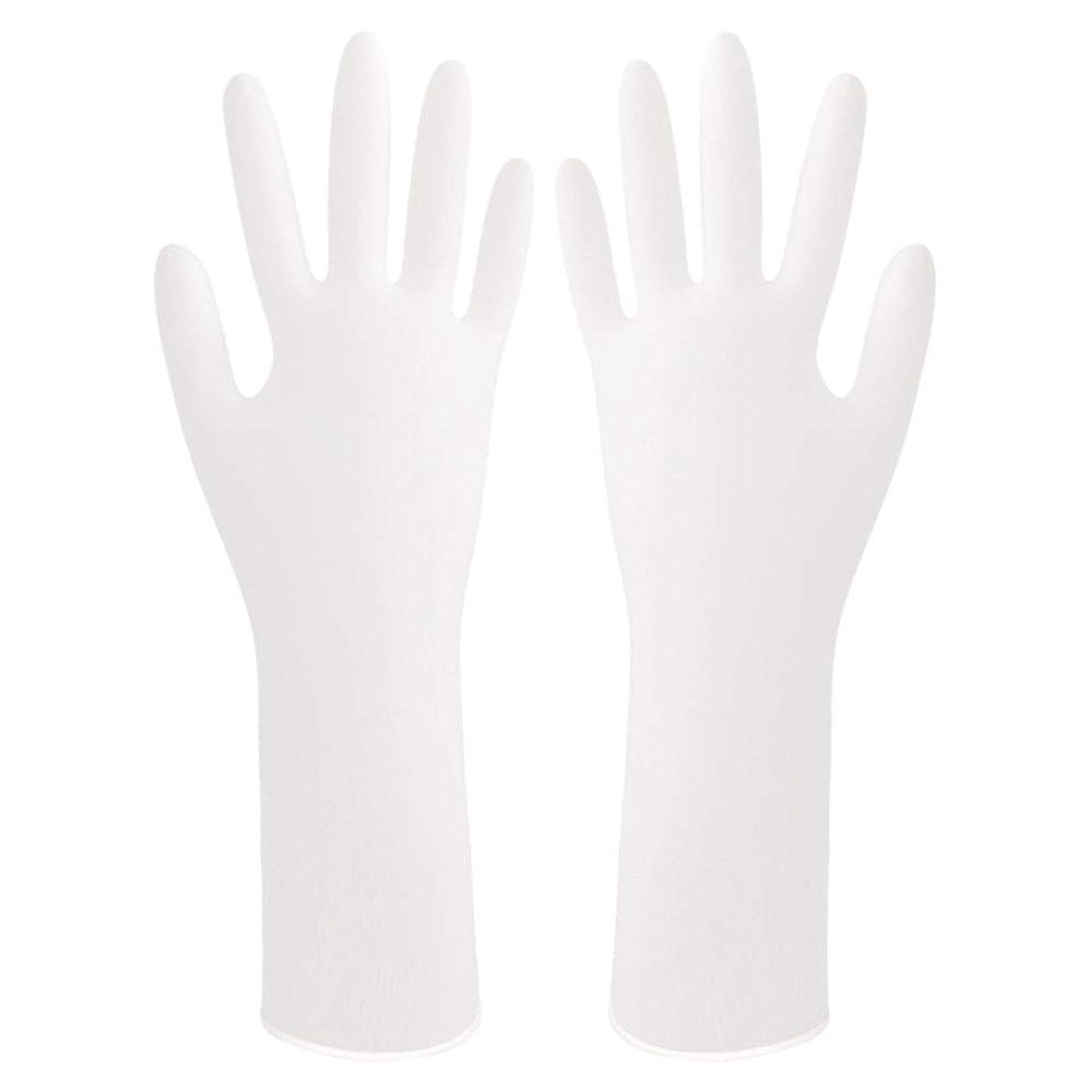 委任確保する許可する使い捨て手袋 ゴム手袋厚くて使い捨ての耐久性のある家庭用防水手袋を着用 ニトリルゴム手袋 (Color : White, Size : L)