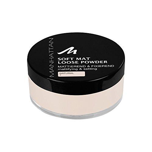 Manhattan Soft Mat Loose Powder, Loses Puder zum Mattieren und Baken des Teints, Farbe Natural 1, 1 x 20g
