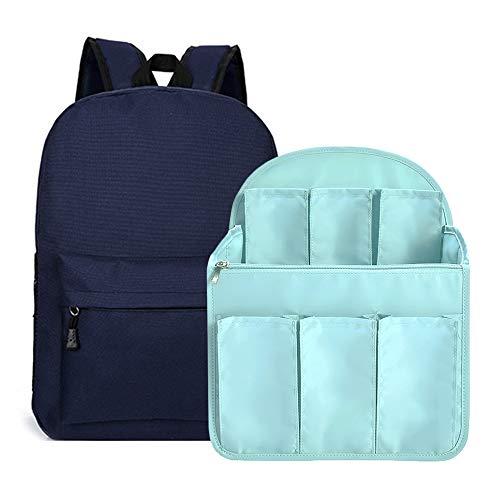 Diaper Bag Insert For Backpack, Pulama Stand Up Large Backpack Organizer for Women Light Blue