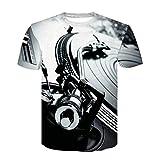Profusion Cicle Hombres 3D Technics Tocadiscos DJ Música Audio Imprimir Camisetas, Ropa De Verano Camiseta De Manga Corta con Cuello Redondo Blanco Negro L