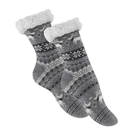 1 Paar Homesocks Socke innen mit weichem Teddyfutter und Antirutsch-Dots auf der Sohle in Grau