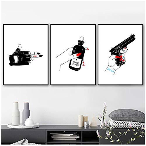 Unbekannt Wohnkultur Leinwand Malerei Nordic Sex Pistols Roten Fingernägel HD Bilder Wandkunst Drucke Modulare Poster Für Wohnzimmer-40x60 cm Kein Rahmen