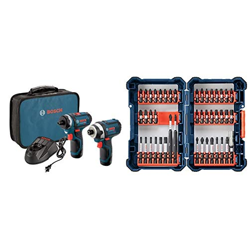Bosch CLPK27-120 12V Max 2-Tool Combo Kit (Drill/Driver and Impact Driver) with 2 Batteries, Charger and Case & 44 Piece Impact Tough Screwdriving Custom Case System Set SDMS44
