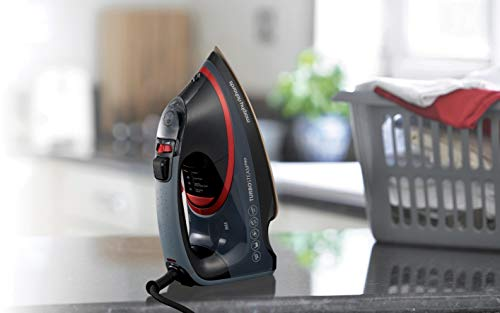 Morphy Richards 303125 Turbosteam Pro Pearl Ceramic Electronic Steam Iron, 0.4 Litre, 3100 W, Black/Red