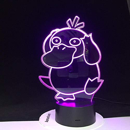 Psyduck Aktion 3D ilusión figura de luz nocturna bolso monstruo 7 colores cambiantes lámpara juguete lámpara infantil regalo de cumpleaños