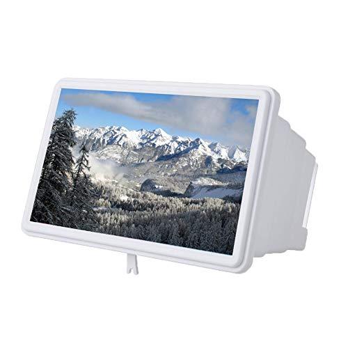 Vipxyc Amplificador de Pantalla de teléfono Celular, Lupa de Pantalla de Ultra Alta definición de 12 Pulgadas, Aumento de Pantalla de teléfono Inteligente 3D para Todos los teléfonos móviles(Blanco)