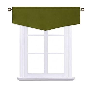 NICETOWN Blackout Tier Window Valance Bedroom - 52-inch 18-inch Ascot Rod Pocket Valance Kitchen (Olive, 1 Pack)