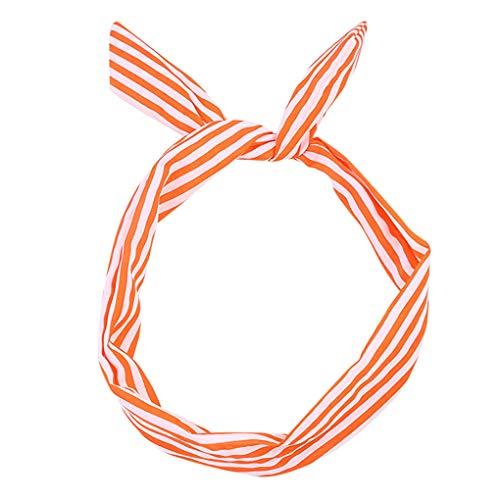 Headband/Dorical Haarbänder Streifen Haarschmuck Stirnband Haarreifen, Rockabilly Accessoires für Damen Mädchen/Fashion Bow Tägliche Kopfbedeckung/Frauentag-haarbänder(Orange)