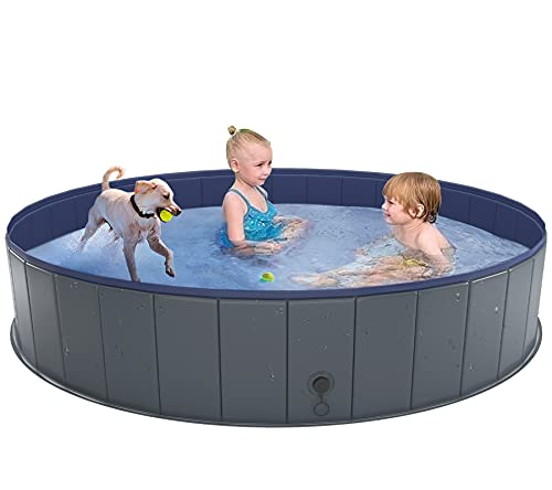 Niubya Foldable Dog Pool, Collapsible Hard Plastic Dog Swimming Pool, Portable Bath Tub for Kids Dogs and Cats, Pet Wading Pool for Indoor and Outdoor, 63 x 12 Inches