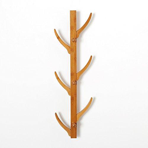 YMJ Coat rack Natuurlijke bamboe hanger slaapkamer muur opknoping hoed rack mini bag rack eenvoudige deur muur coat rack Wandmontage kapstok