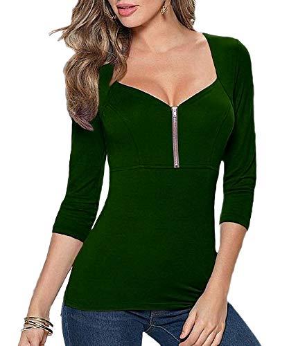 Afibi Women's Square Neck Zip Up Front Empire Waist Blouse Tees Tops (Medium, Dark Green)