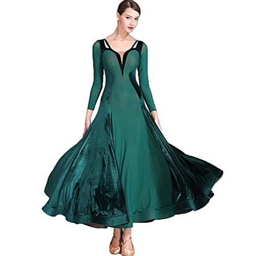 YROYKRRE Lange Ärmel modernes Tanzkleid Mesh Gesellschaftstanz-Aufführungskostüm Waltz Tango Standard Dress (Color : Dark Green, Size : XXL)
