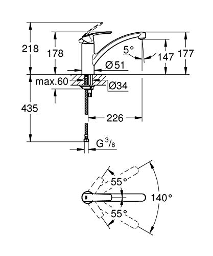 Grohe – Start Küchenarmatur, Schwenkbereich 140°, Easy Exchange Mousseur, Chrom - 6