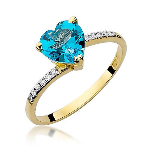 Zlocisto® Damen Ring Goldring - Topas und Wunderkerze - Verlobungsring Graveur KOSTENLOS