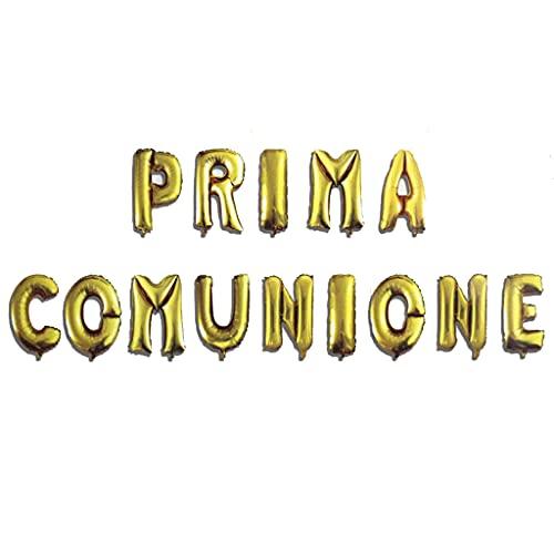 WOOPARTY Palloncini Prima Comunione 14 Lettere Gonfiabili Decorazioni Addobbi Accessori per Comunione Bambina/o