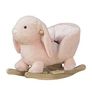 HOMCOM Caballito Balancín Infantil Forma de Conejo de Felpa para Bebés 18-36 Meses con Sonido Cinturón de Seguridad Manillar y Reposapiés 60x33x50cm Rosa