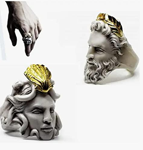 Zeus Anillo para hombre en forma de cabeza para hombres y mujeres, anillo con forma de cabeza Zeus, regalo vintage -C_9