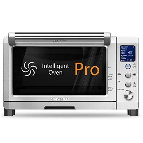 Toaster Oven, Willsence Convection Toaster Oven Stainless Steel 6 Slice Countertop LCD Display and Element IQ,1800W,Pizza,Brushed,with 9 Pre-set Cooking Functions