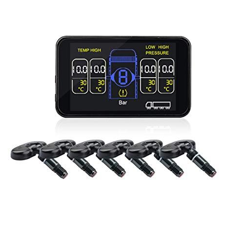 LLC-POWER 6 Wireless Sensores TPMS, Presión De Los Neumáticos Sistema De Monitoreo, Temperatura del Aire De Fuga del Monitor, Rango De Presión 0~117 PSI / 0~8 Bar, para RV Remolques De Camiones