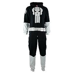 One Piece Sweatsuit - Marvel Punisher - Zipper Costume Jumpsuit (Large)